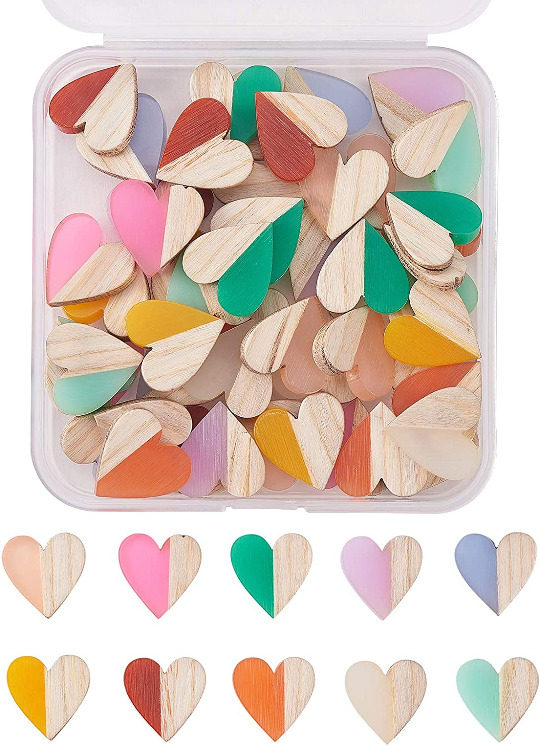 Airssory 50 Pcs 10-Colors specialty Low price shop Heart Shaped Two Resin Wood Fla Tone