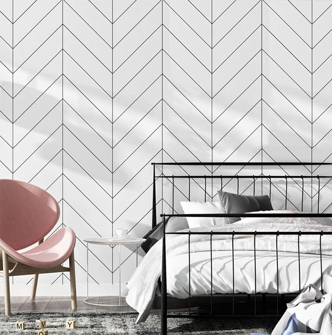 """White and Black Trellis Modern Wallpaper, Removable and Waterproof for Home Design and Room Wallpaper Decoration, Super Large Size 0.53m x 10m / 393.7"""" x 21"""""""