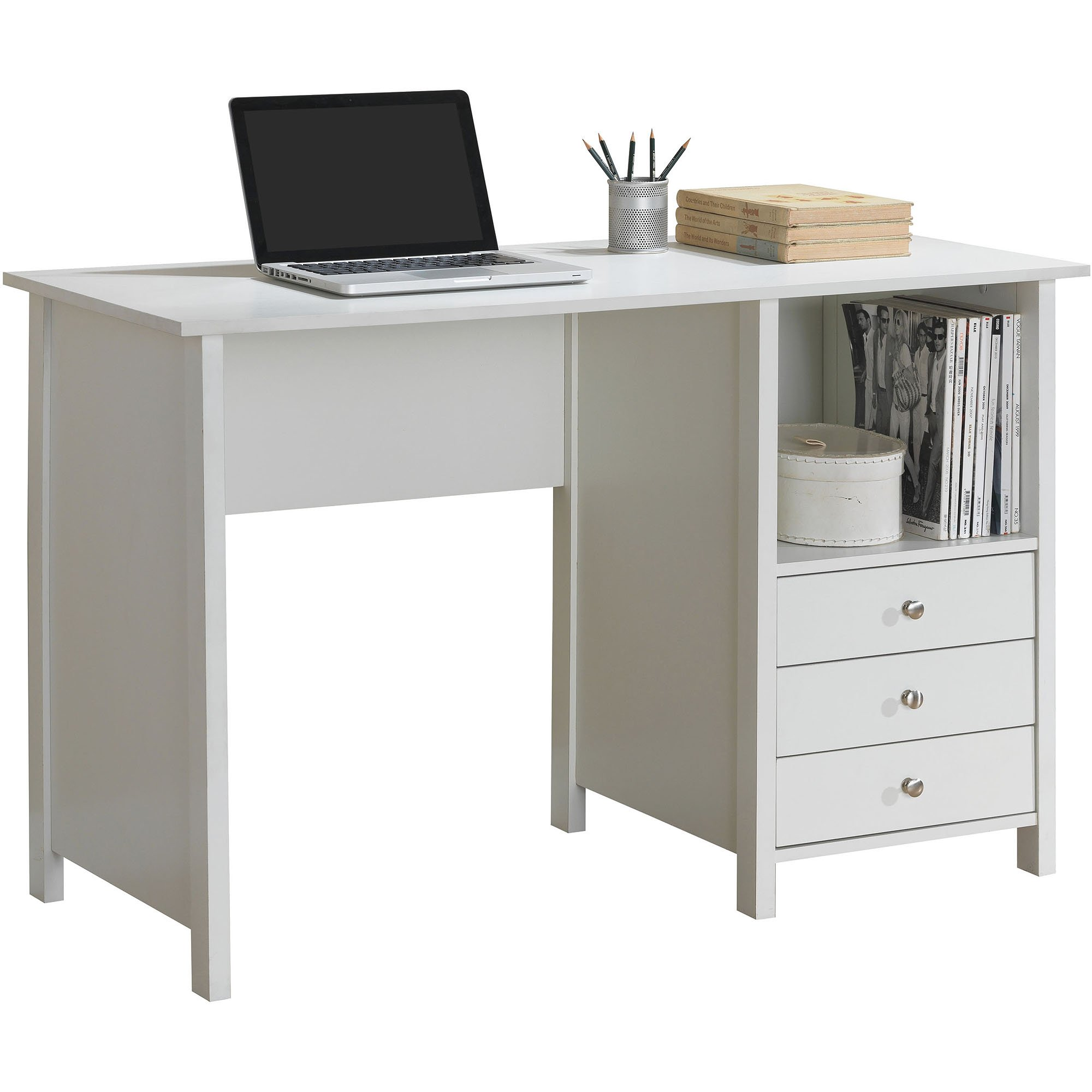 Home Office Modern Desk Large Surface Furniture Documents Holder Storage Spacious Drawers Square Shelves Decoration Accessories Paper Laminate Easy Assembly Organizing Unit