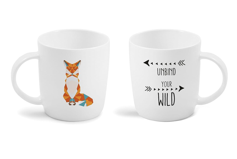 Vialli Design Fox 370 ml MIA Natura Taza, Porcelana, Blanco, 11 x ...