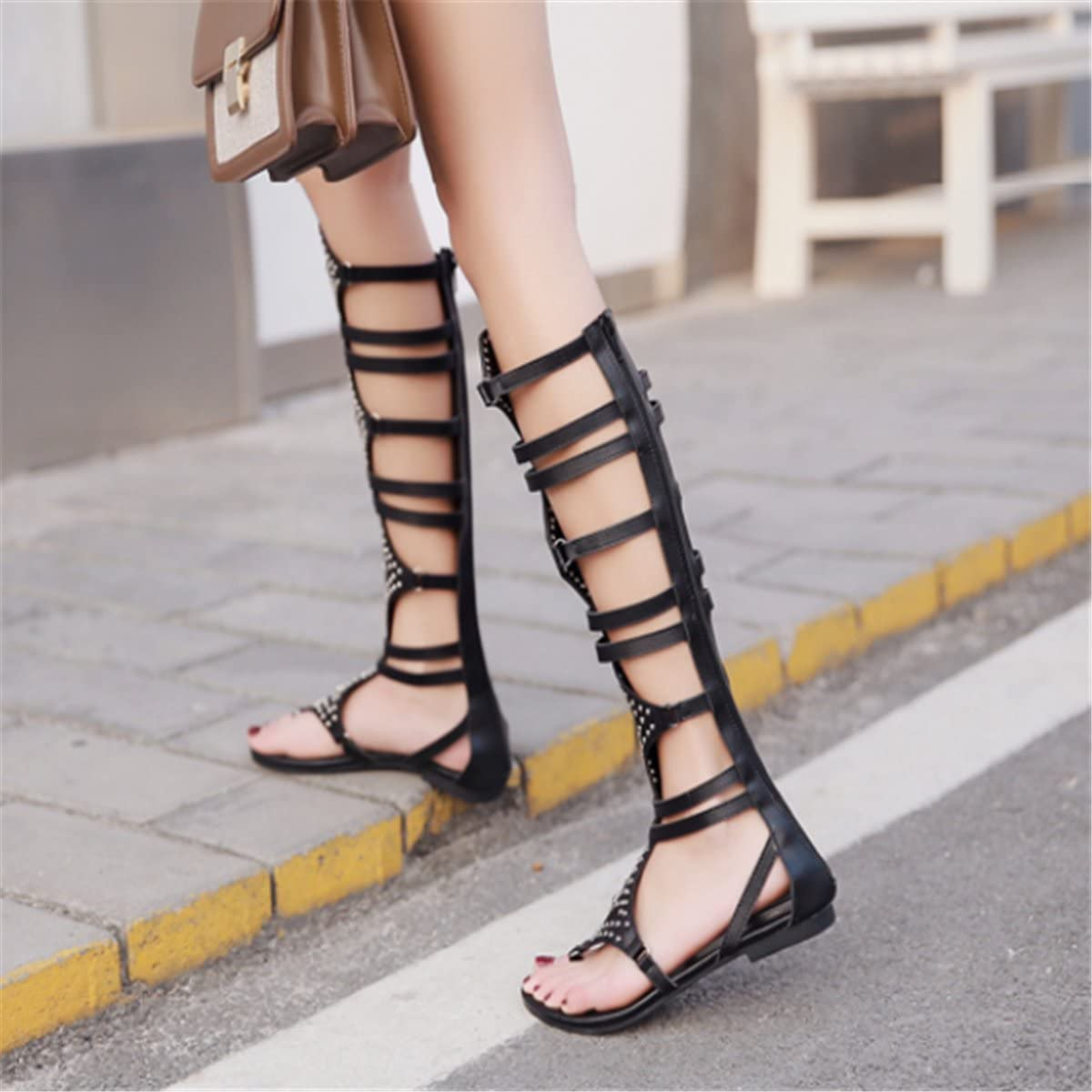 Bottines femme cloutées lanières Orteil-post Chaussures Été Gladiateur Sandales Chaussures Taille
