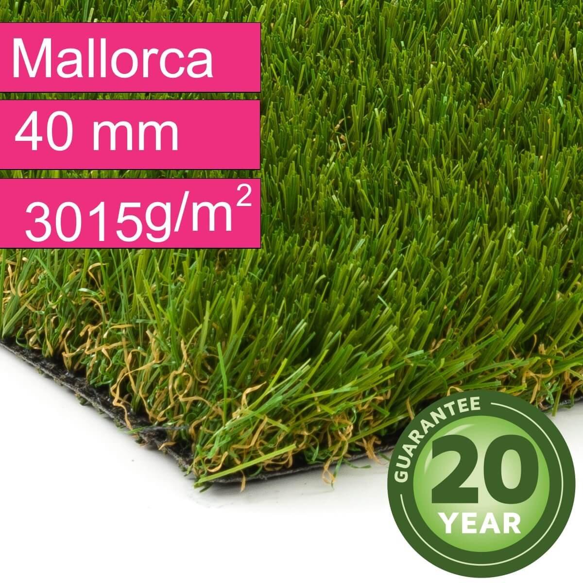 Rollrasen Kunststoffrasen DIN 53387 3015 g//m/² Florh/öhe 40 mm UV-Garantie 20 Jahre Kunstrasen Rasenteppich Mallorca f/ür Garten - 4,00 m x 3,00 m Gewicht ca