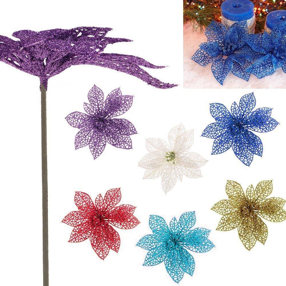 Bigmai 10 Pcs Glitter Artificial Wedding Christmas Flowers Poinsettia Christmas Tree Ornaments,15cm (Pink)