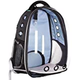 Lemonda Creative Transparent Pet Backpack Carrier Breathable Capsule Traveler Airline Approved for Cats and Dogs (Blue)