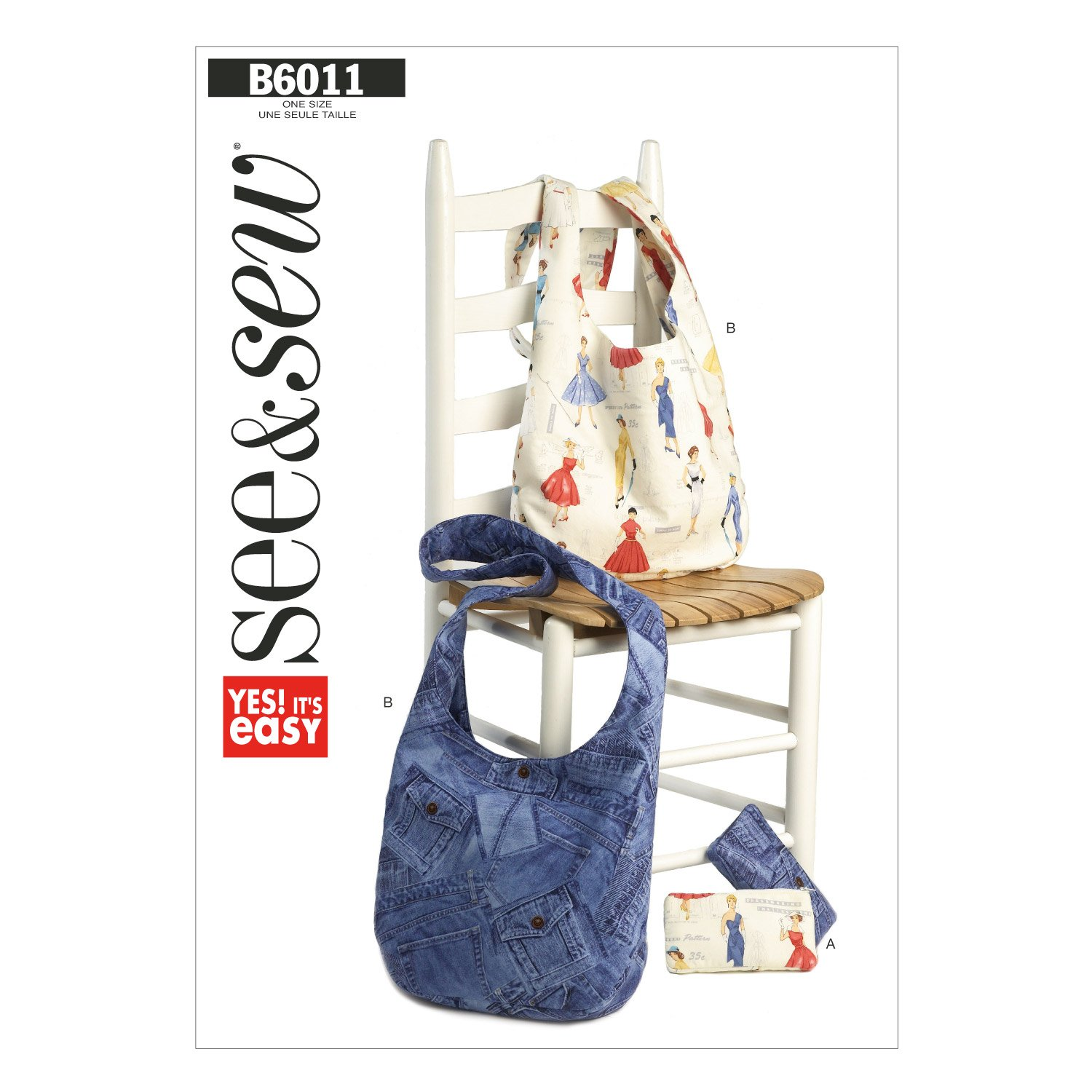 Butterick Patterns 6011A Cosmetic and Hobo Bag, Multi-Colour The McCall Pattern Company B60110A0