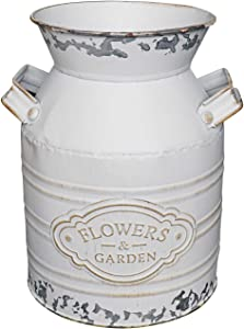 "Soyizom Rustic Galvanized Vase Tin Milk Can Vintage White Jug Metal Shabby Chic Bucket Vase Decorative Jug Pot Farmhouse Decor Flower Pitcher for Country Primitive Water Jug Can Decor Vase—Small,7.9""H"