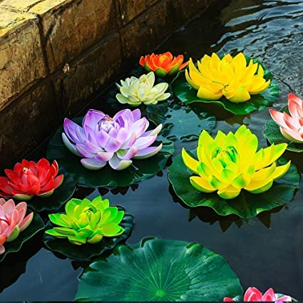 Superdream Water Floating Foam Lotus Flower For Pond Decor Set Of 6