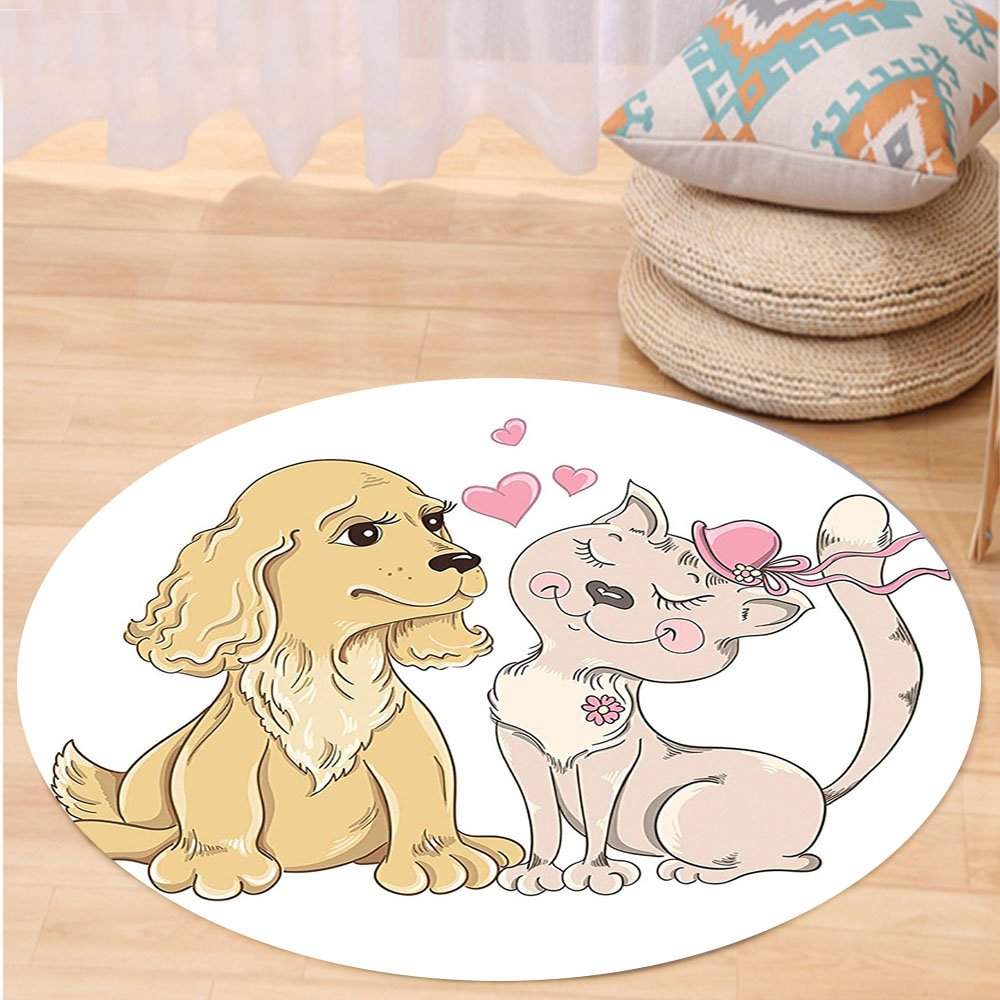 VROSELV Custom carpetAnimals Decor Collection Valentines Dog and Cat Character Friendship Love Heart Greeting Romantic Image Bedroom Living Room Dorm Cream Beige Pink Round 72 inches