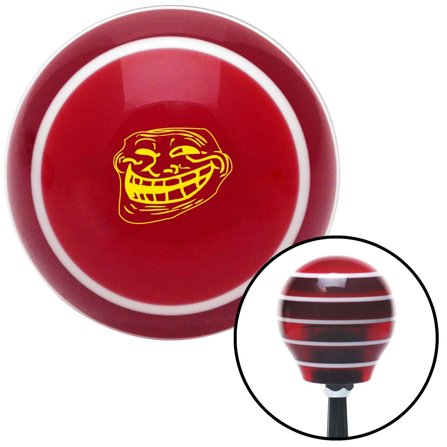 American Shifter 273811 Shift Knob Yellow Original Troll Red Stripe with M16 x 1.5 Insert
