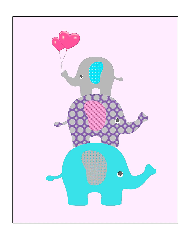 Amazon.com: Cute Love Elephant Kids Room Decor for Girls Room or ...