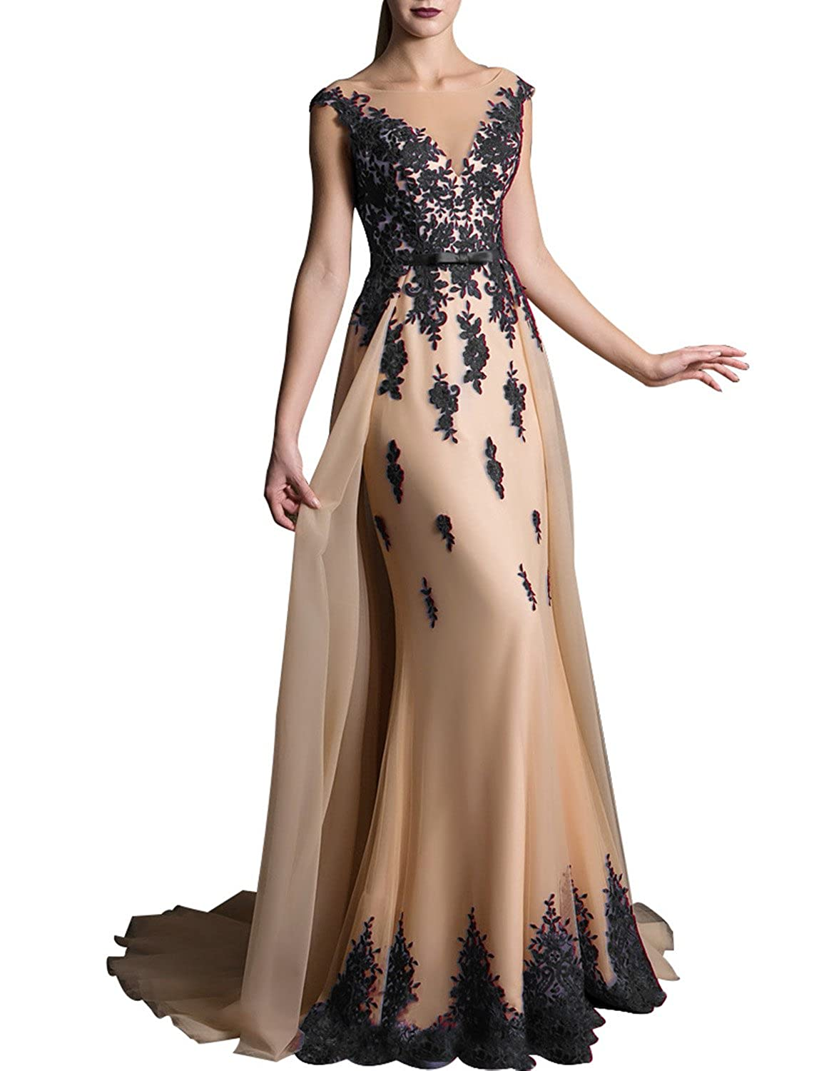 5261c3419aae1 2019 Lace Prom Dress for Girls V Neck Evening Party Gown Sweep Train Formal  EV429