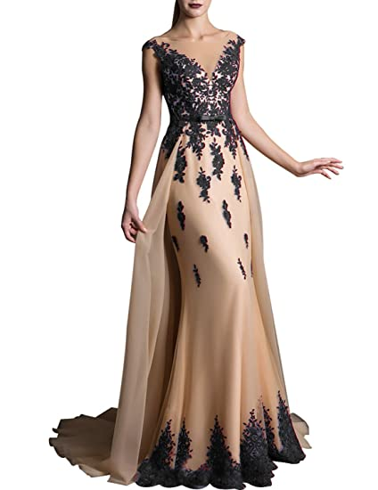 7fdf607a8dd9d 2019 Lace Prom Dress for Girls V Neck Evening Party Gown Sweep Train Formal  EV429