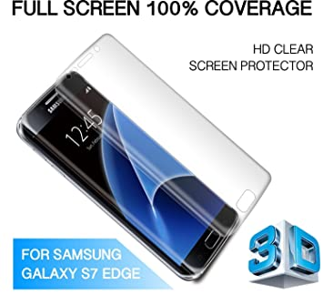 9a563262f4b SAMSUNG GALAXY S7 EDGE SCREEN PROTECTOR, S7 EDGE 100% Full Coverage Curved  Premium Clear