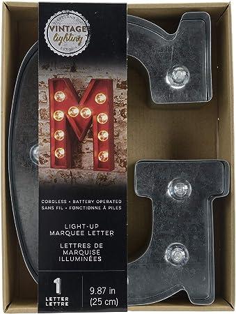F Galvanized Darice Silver Metal Marquee Letter 9.875-inch