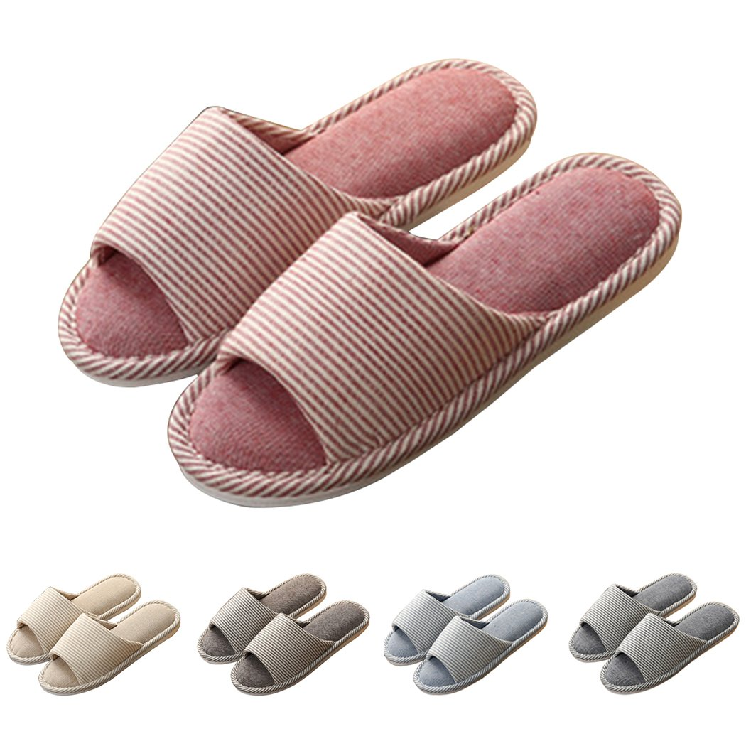 GaraTia House Slippers Open Toe Striped Memory Foam Cotton Washable for Men and Women Pink 5.5-6.5 B(M) US
