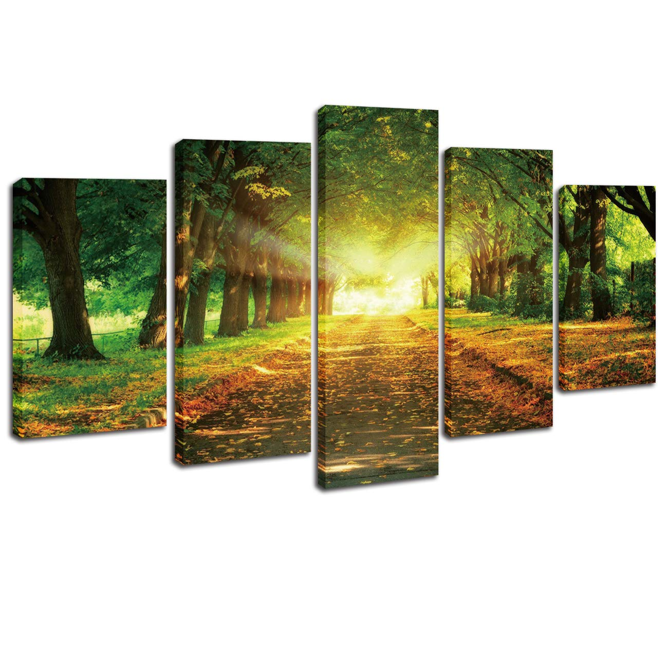5 Pieces Modern Canvas Painting Spring Tree Poster Wall Art Home Decoration Sunset Landscape Road Print On Canvas Giclee Artwork Wall Decor Living Room Decor/ 20x30cmx2pcs 20x40cmx2pcs 20x50cmx1pcs
