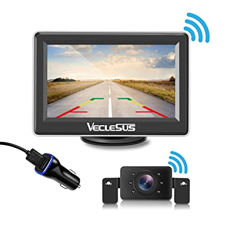 VECLESUS Wireless Backup Camera Kit with 149 Viewing Angle, 2.0 Starlight Night Vision, Easy Installation Licence Plate Backup Camera for Cars, Pickup Trucks, Cargo Vans, SUV, Truck Campers.