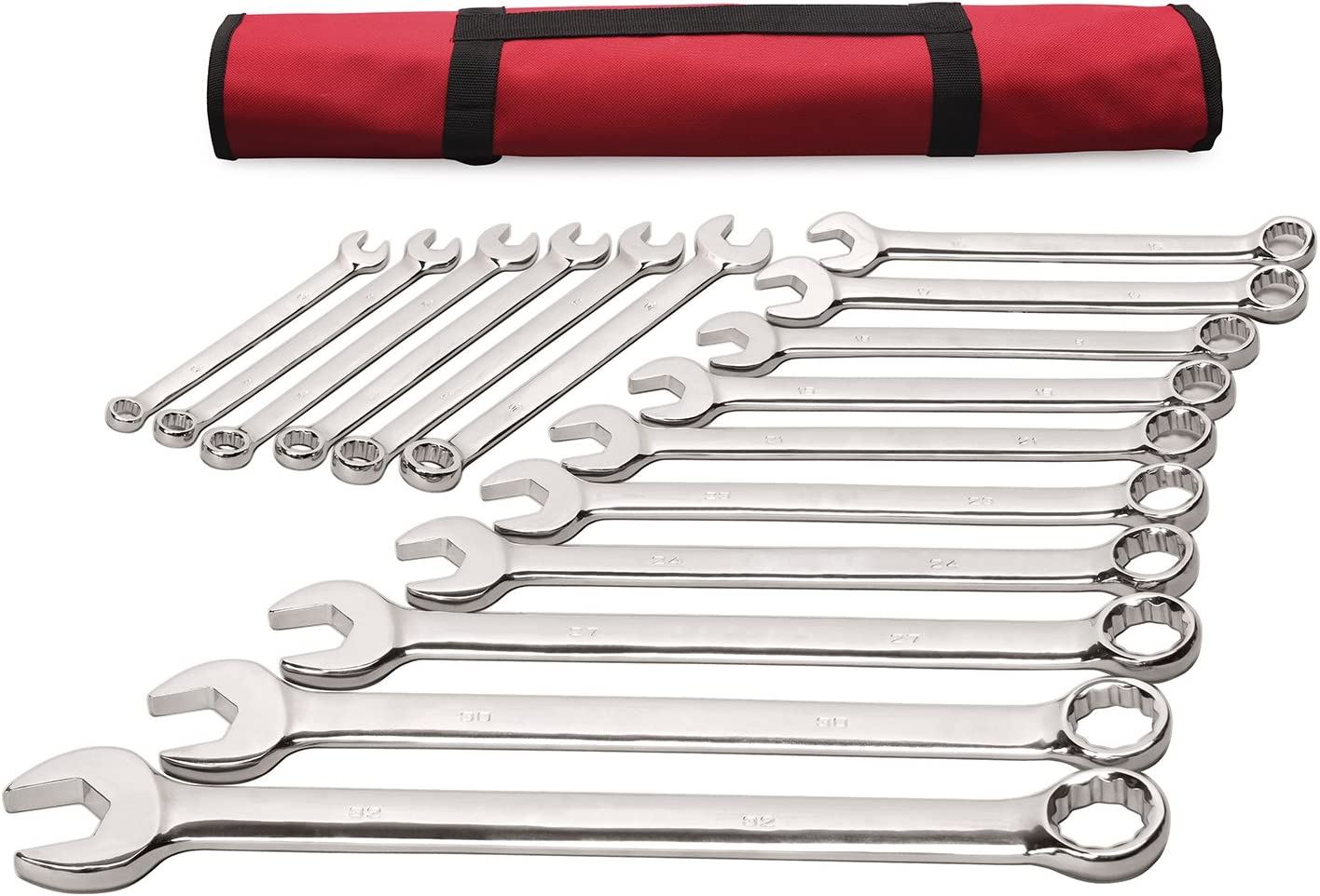 17 30 32mm in Roll-up Pouch 14 18 15 Sizes 10 13 Best Choice 16-Piece Large Metric Combination Wrench Set 21 23 Long Pattern 11 V-Groove Design 12 27 24 16 Chrome Vanadium Steel 19