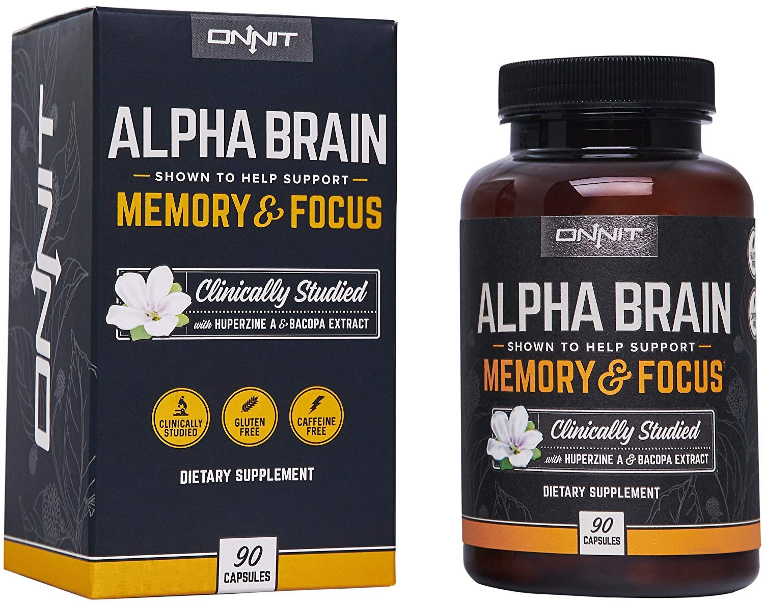 f9e857e8 Amazon.com: Onnit Alpha Brain (90ct): Nootropic Brain Booster Supplement  For Memory, Focus, and Mental Clarity | With Bacopa, AC11, Huperzine A,  L-Tyrosine, ...