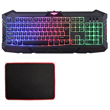 MFTEK USB LED Rainbow retroiluminado teclado Gmaing Para El Ordenador portátil de Escritorio de jugadores Oficina Trabaja con alfombrilla de ratón: ...