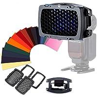 Selens - Kit de rejilla de panal universal portátil con 20 filtros de gel de colores SE-Kx para flash, cámara…