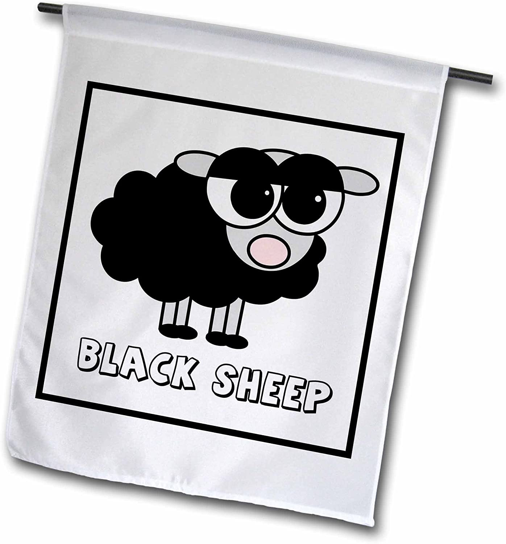 3dRose Janna Salak Designs Farm Animals - Little Black Sheep Design - 18 x 27 inch Garden Flag (fl_6158_2)