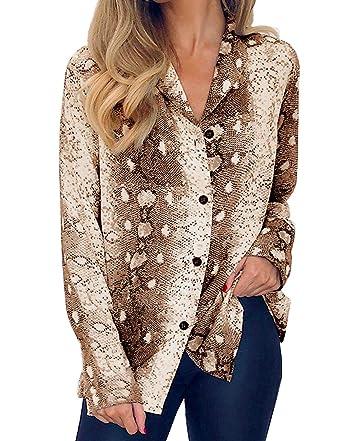f7f9783f Womens Long Sleeve V Neck Snake Print Shirts Button Down Chiffon Blouse Tops
