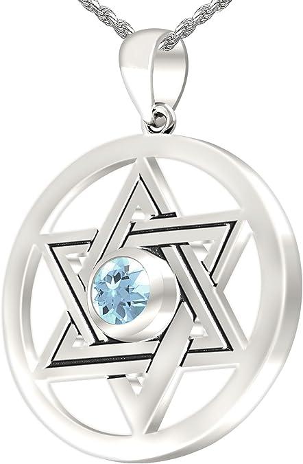 New 0.925 Sterling Silver Birthstone Girl Aquamarine Pendant Necklace
