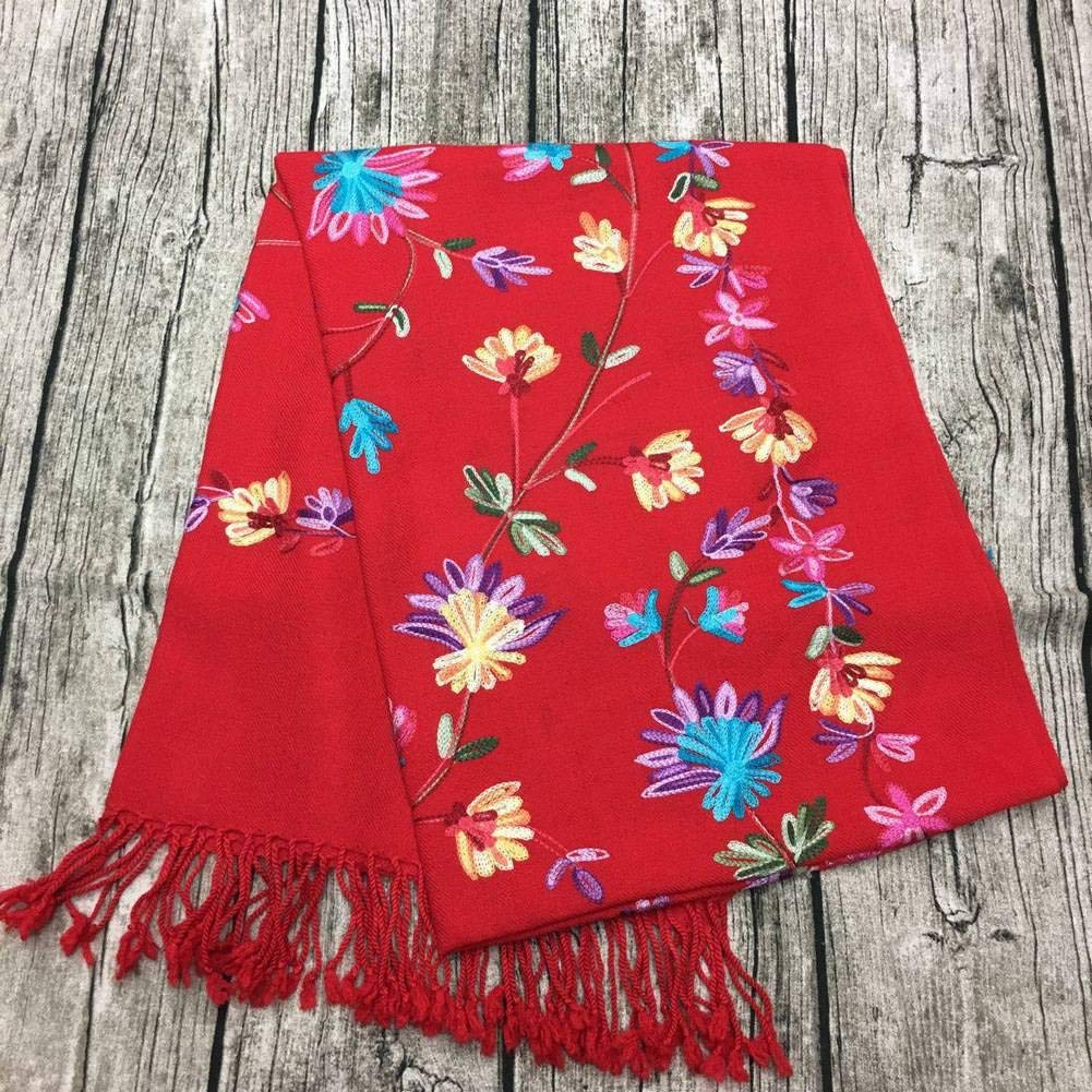 Red WJL Vintage Ethnic Fringed Wool Female Warm Flower Medium Long Shawl Autumn and Winter Outdoor MultiFunctional Fgreyion Trend Wild Warm Shawl Scarf Gift