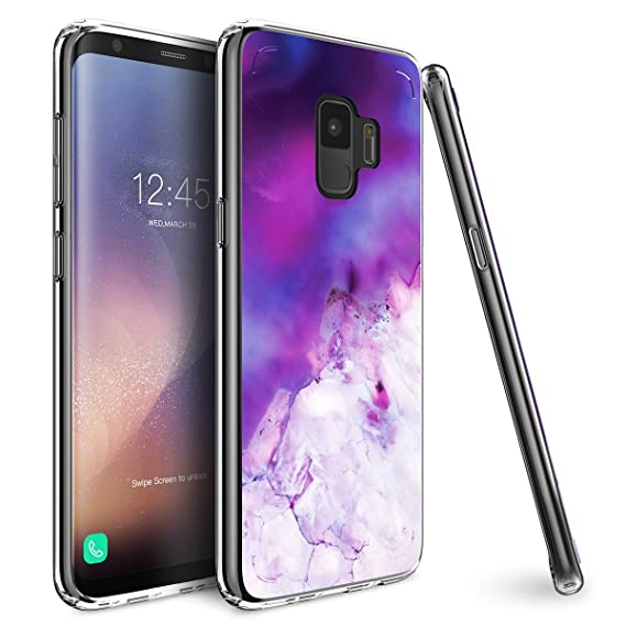 the latest ca1c5 96098 Mueral Compatible/Replacement Protective Case Samsung Galaxy S9 -  Purple/Lavender Marble Geode Design