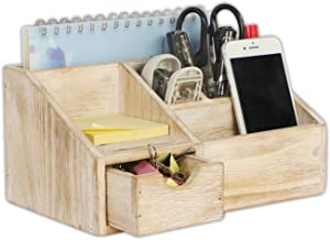 EMAISON Rustic Wooden Desk Organizer and Sorter, Office Supplies Holder with Drawer for Mail, Pen Pencils, Cosmetics, 5 Compartments (Nature 9.5 x 6 x 5 Inches)