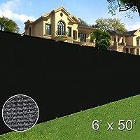 Sunnyglade 6 feet x 50 feet Privacy Screen Fence Heavy Duty Fencing Mesh Shade Net Cover for Wall Garden Yard Backyard Black