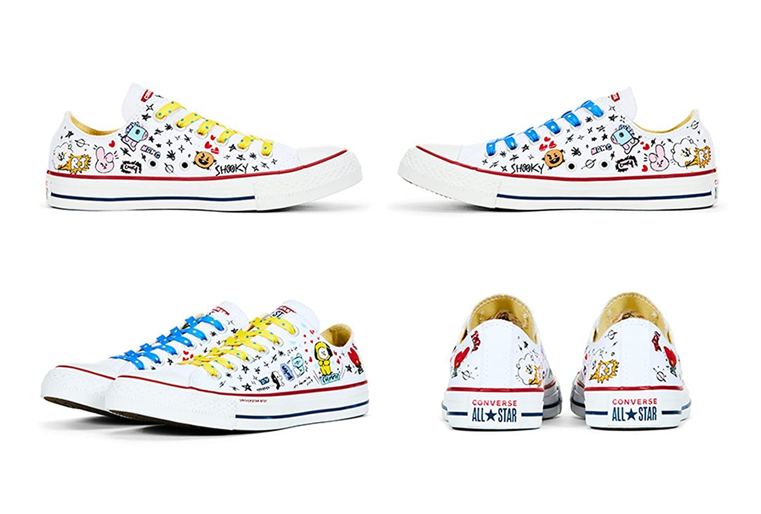 f0c2bedcb97f91 Amazon.com  BT21 x Converse Collarboration Chuck Taylor All Star Low White  (Limited)  Shoes