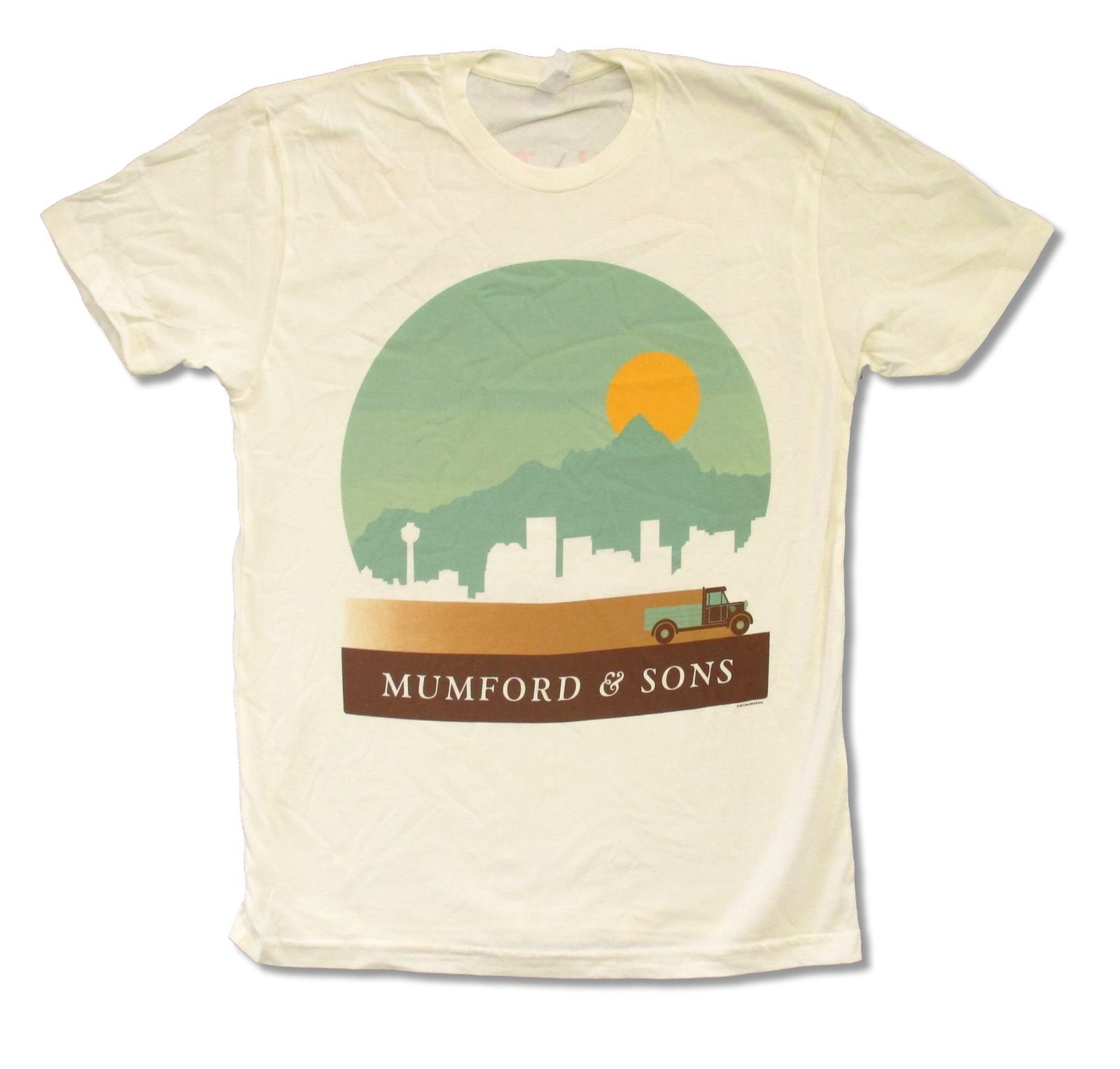 Mumford & Sons ''Calgary to Telluride'' Summer 2013 Tour Tan T-shirt (Small)