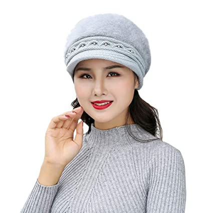 007b5692840 Image Unavailable. Image not available for. Color  YEZIJINWomen Winter Warm  Pearl Cap Knitted Hat Beret Baggy Beanie Hat Slouch ...