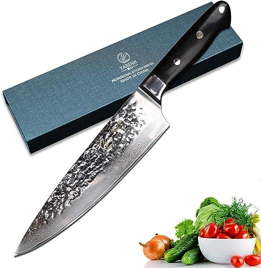 YARENH Cuchillos de Cocina Profesionales 20 cm,Cuchillo Cocina de Acero de Japonés Damasco,Mango de Madera Ebony,Cuchillo de Chef Ultra Filoso HTG-Serie: Amazon.es: Hogar