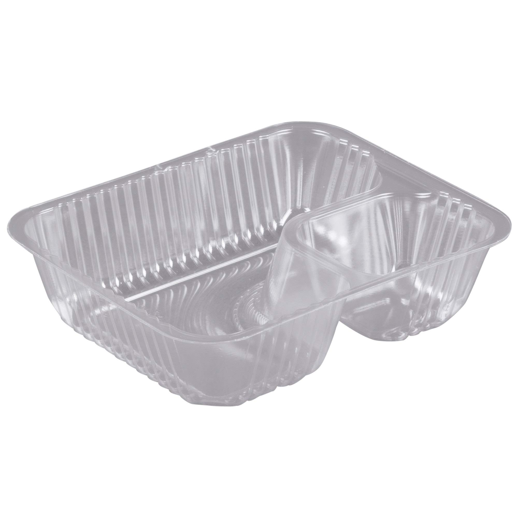 Commercial Quality Clear 2 Compartment Plastic Nacho Trays | 500/Case - Set of 2