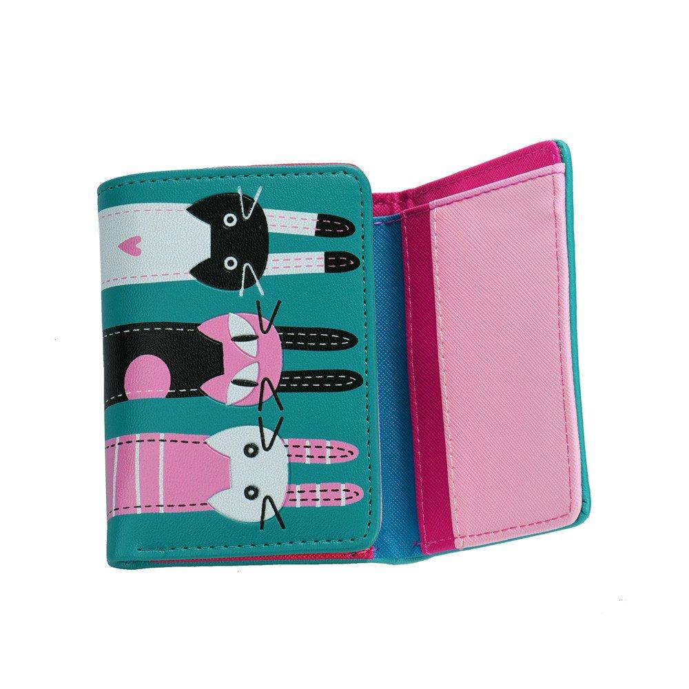 TUSANG Women Cat Pattern Coin Purse Short Wallet Card Holders Handbag Purse Neck Bag Travel Cute Animal Shape Bags