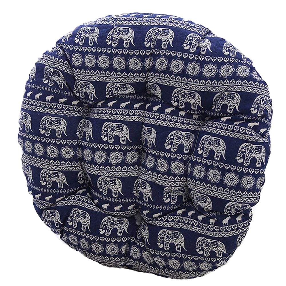 MEMORECOOL LIGHT UP YOUR HOME Bohemia Simple Round Floor Cushion, Futon Round Seat Cushion Window Pad Chair Cushion Sofa Pillow 16 Inch, Blue Elephant Set of 2