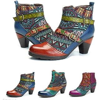 Socofy Botines De Cuero, Zapatos De Invierno De Cuero para Mujeres Botas Oxford Ocasionales Botines
