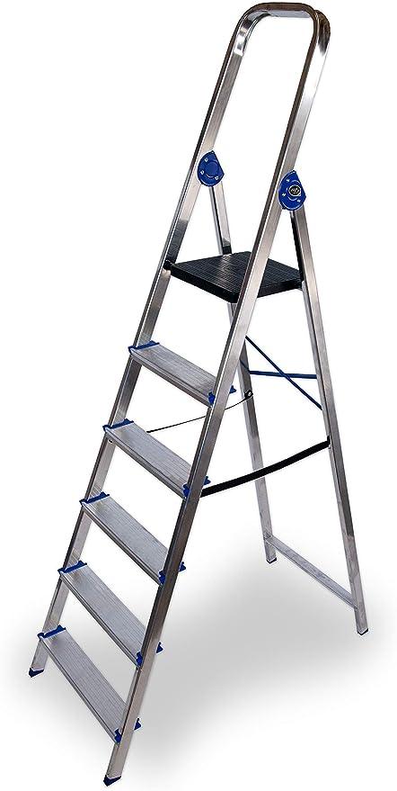Escalera domestica de aluminio Altipesa (Aluminio, 6 PELDAÑOS): Amazon.es: Bricolaje y herramientas