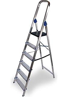 HOMCOM Escalera de Aluminio Tijera Plegable 4/5/6 Peldaños 150kg Plegable Plateado NUE (6 Peldaños): Amazon.es: Bricolaje y herramientas