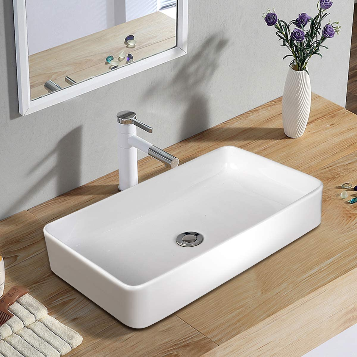 Tangkula 24 X 14 Rectangle Bathroom Vessel Sink Porcelain Porcelain Ceramic Above Counter Basin Vessel Vanity Sink Art Basin With Pop Up Drain Ideal For Home Restaurant And Hotel White Amazon Co Uk Diy Tools