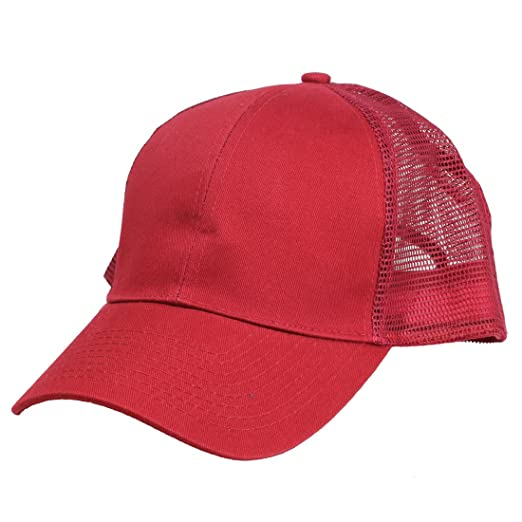 c5265b32a7a04 DALIX Blank Hat Structured Light Weight Brushed Mesh Cap in Maroon ...