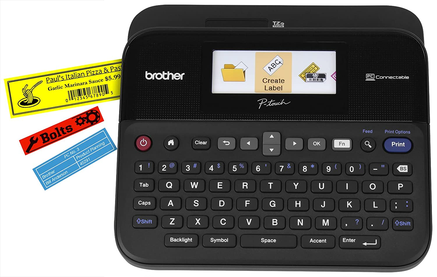 Color printing label maker - Amazon Com Brother P Touch Ptd600vp Pc Connectible Label Maker With Case Office Products