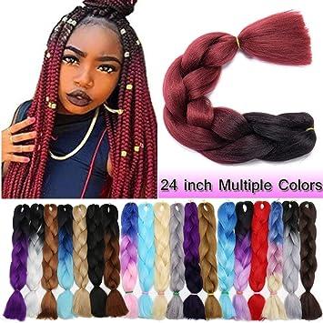 Ombre Jumbo Braiding Hair Black To Dark Red 1 Bundle Crochet Twist Hair Extensions 24 Inch