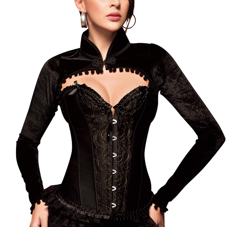 R de Robe Bol/éro Femme Noir /épaule Veste /à Manches Longues Veste Blazer Haut Top