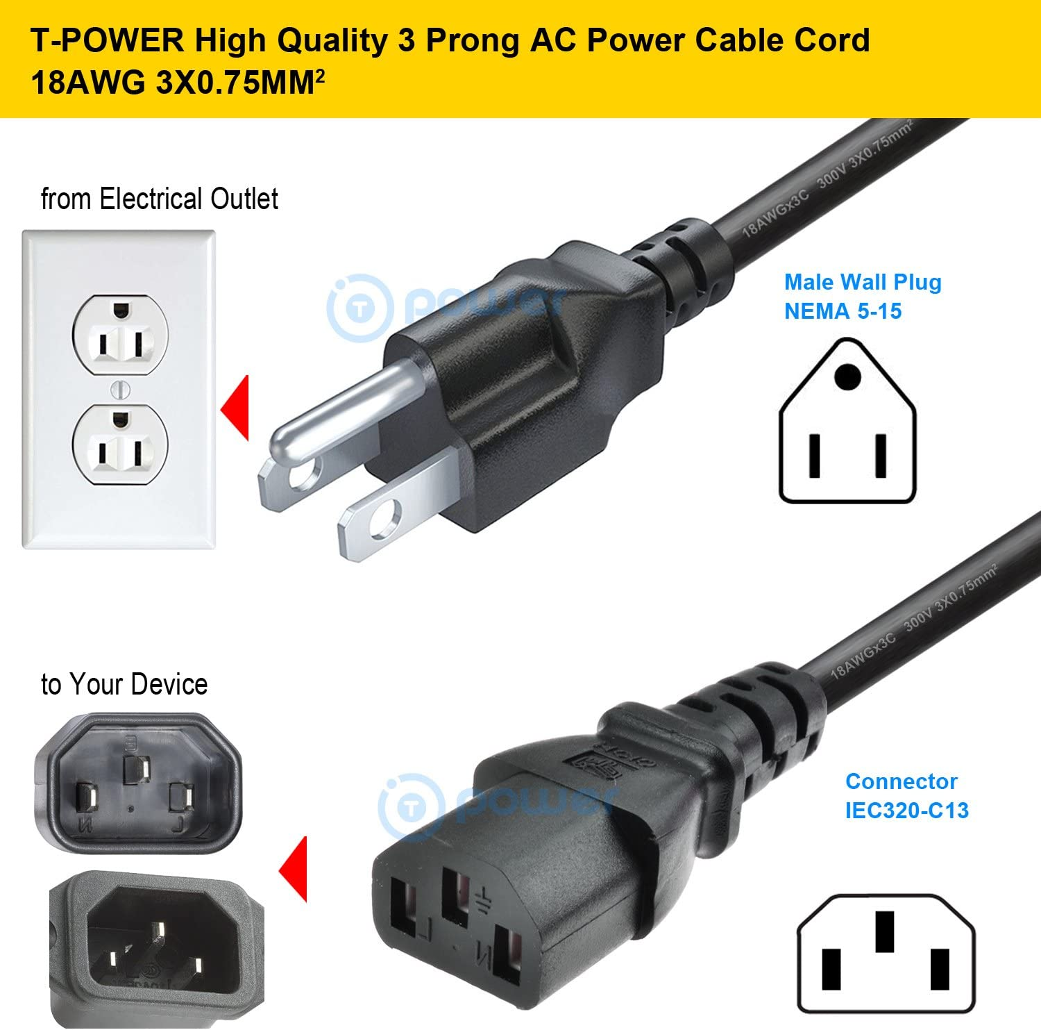 3 Prong NEMA 5-15P Male to IEC320 C13 Female Compatible with AOC Hisense TCL Hitachi Haier Element Sceptre RCA Westinghouse Sharp T POWER 18 AWG Universal Smart HDTV Monitor PC AC Supply Cable Cord