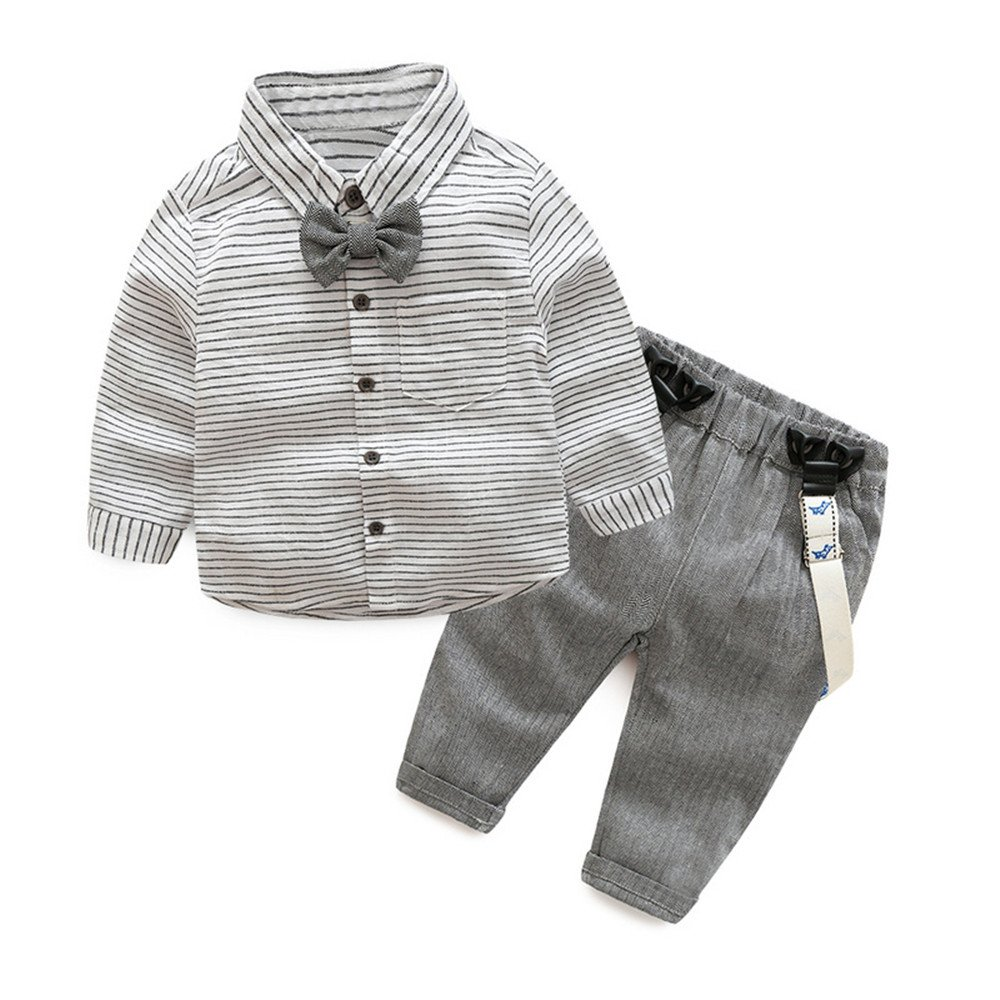 Tem Doger Baby Boys Long Sleeve Woven Striped Shirt+Bowtie+Suspender Pants With Straps Outfit (95/18-24 Months)