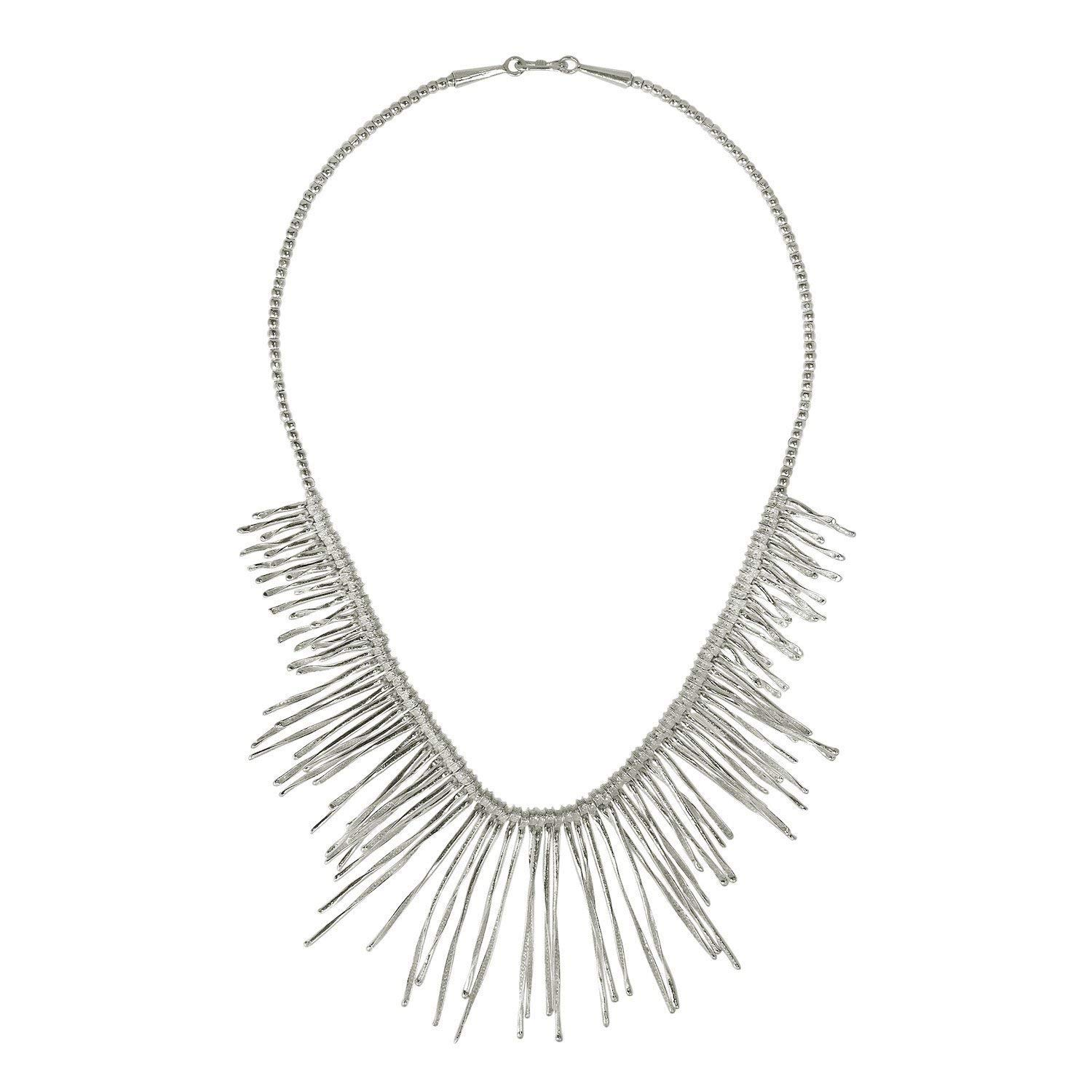 Bridal Necklace Sterling Silver Statement Rays Necklace,SilverShapes Handmade impressive Silver Beads Necklace with Spikes Rivet Pendant Beautiful Gift for Her